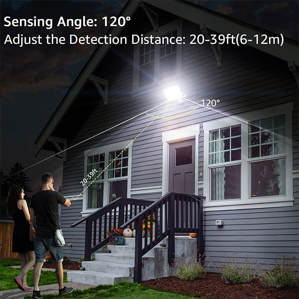 60W Security Lights with Motion Sensor 2 Pack, 6600lm LED PIR Floodlight, IP66 Waterproof Outdoor Security Flood Light, 5000K Daylight White Lighting for Garden, Garage(EU Standard)