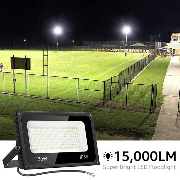 150W LED Floodlights IP66 Waterproof LED Garden Lights Mains Powered Daylight White for Yard Parking