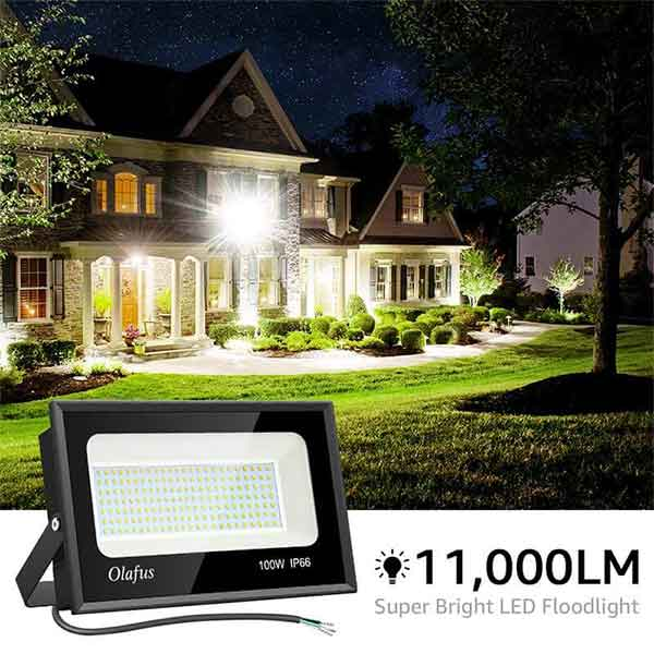 100W Outdoor LED Flood Light 2 Pack, 11,000lm Super Bright Floodlights, 5000K Daylight White, IP66 Waterproof Exterior Floodlight for Lawn, Playground, Yard, Volleyball Play court(US Standard)