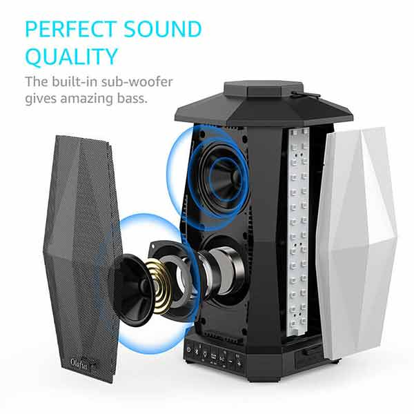 Outdoor Bluetooth Speakers 2 Pack for 5.8Ghz Wireless Pairing, IPX5 Waterproof Indoor Lantern Speakers with LED Mood Lights, 100ft Bluetooth Range, 20H Long Playtime, Powering for Holiday Party(US Plug)