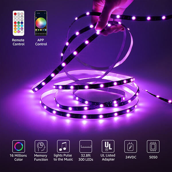 RGB LED Strip Light 10m Kit Smart WiFi Wireless App Control Music Light Tape, Compatible with Alexa/Google Assistant, 16 Million Color Changing Dimmable 300 LEDs 5050 Remote Control(UK Plug)