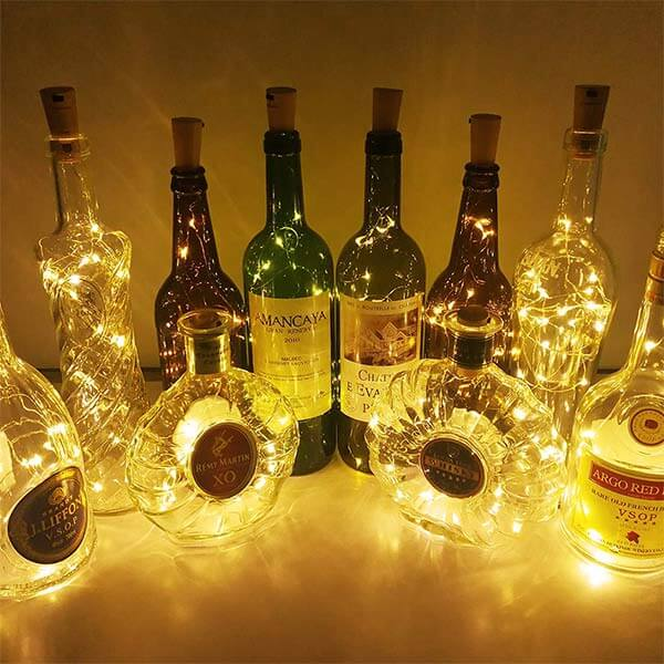LED Wine Bottle Lights with Cork 24 Pack, Battery Operated 20 LEDs 6.6ft Fairy Lights, Copper Wire Warm White Micro String Light