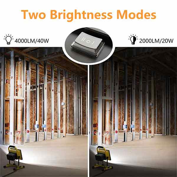 40W LED Work Light 230W Equivalent, 4000LM LED Floodlight, 2 Brightness Modes 5M Cord with Plug, IP65 Waterproof Construction Lights with Stand for Job Site, Workshop, Garage 5000K Daylight White(US Plug)