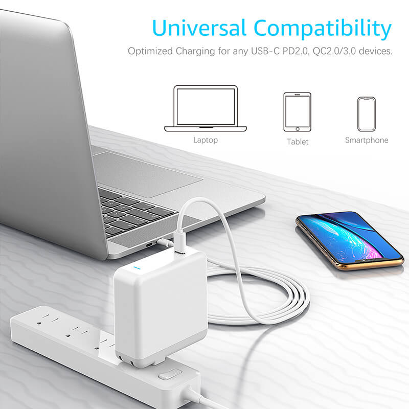 61W USB C Power Adapter - Power Delivery Fast Charging USB C Charger with 6.6ft USB C-C Charge Cable and Indicator Light, Compatible with 13-inch MacBook Pro 2016/2017/2018 - UL Listed