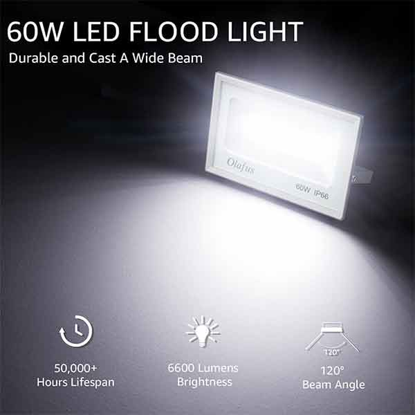 60W LED Flood Light 2 Pack, 6600LM, 300W Halogen Blub Equivalent IP66 Waterproof Outdoor Floodlights Ultra Bright for Playground, Entryway, Yard, Basement 5000K Daylight White(US Standard)