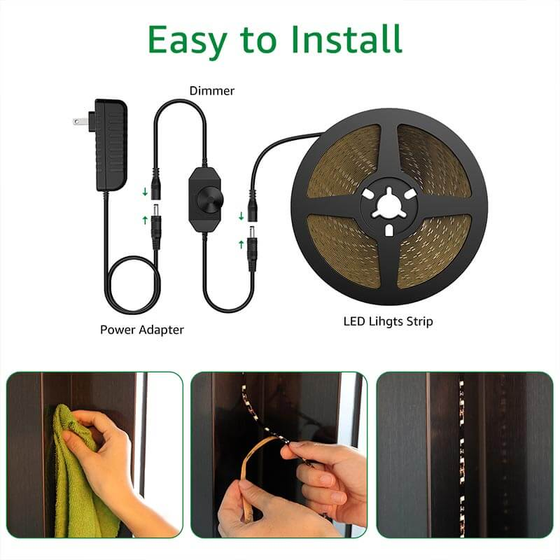 EASY INSTALLATION: Peel & stick or mount the LED strips with supplied mounting clips. Plug and Play!