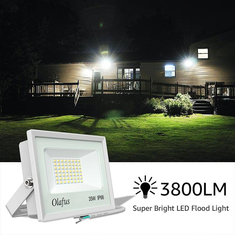 LED Floodlight 35W IP66 Waterproof Outdoor LED Flood Lights 4 Pack for Front Door, Garden, Patio, Yard, Driveway, Stadium