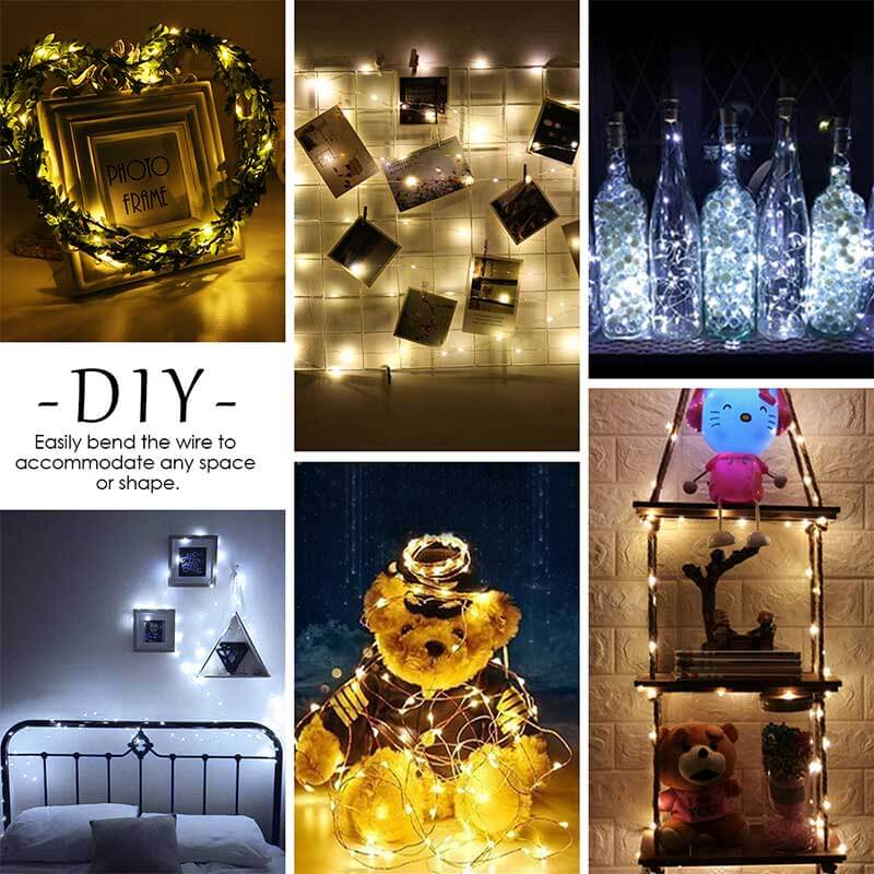 Dual Color LED String Lights 16 Pack (Warm White/Cool White), 40 Micro LEDs on 6.6ft Copper Wire Battery Powered, IP68 Waterproof Indoor Outdoor Decorative for Bedroom, Mason Jar, DIY, Wedding