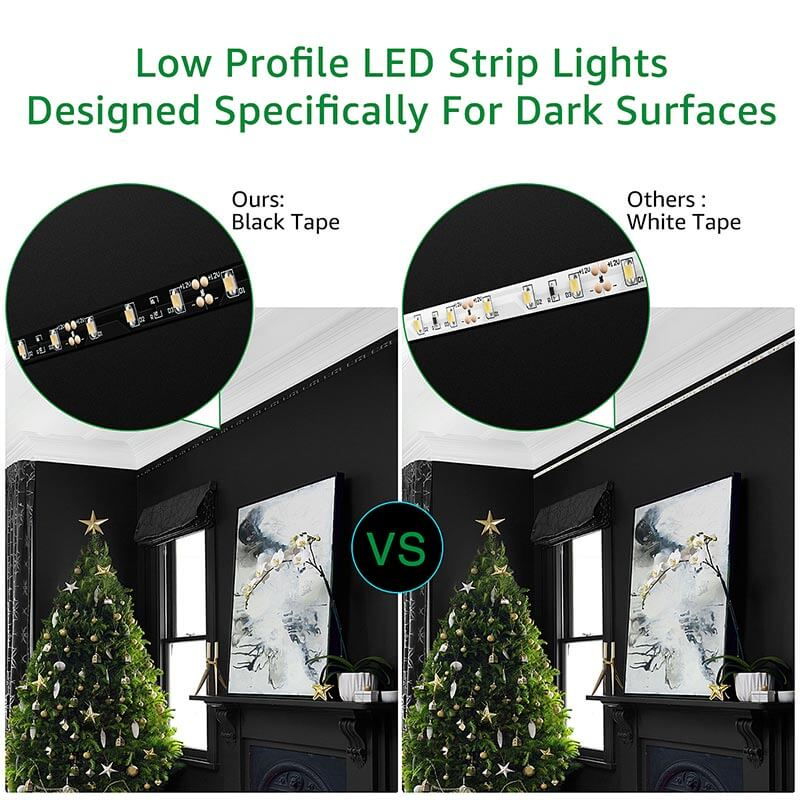 LED Light Strip Dimmable 10m Low Profile Black LED Strip 6000K Daylight White Non-Waterproof LED Ribbon Tape for Home, Bedroom, Bar