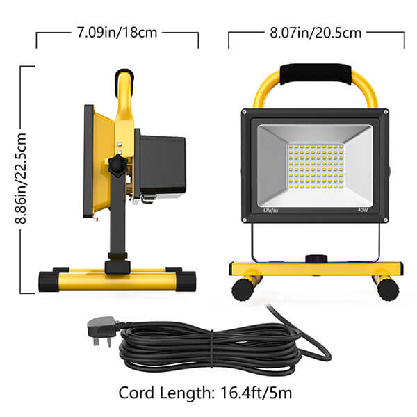 40W 4000lm LED Work Light, 2 Brightness Modes, IP65 Waterproof Working Lights Kit with Detachable Stand, Outdoor 5000K Daylight White LED Floodlight for Construction Site, Workshop, Garage(UK Plug)