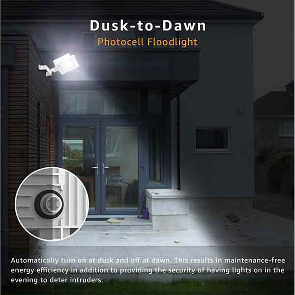 60W Flood Light 2 Pack Dusk to Dawn LED Security Lights with Photocell(US Standard )
