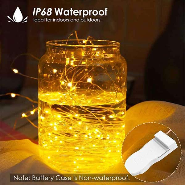 The LED fairy light is IP68 waterproof (battery case not) to help resist rain and snow