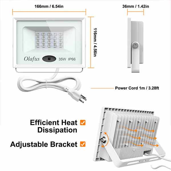 35W RGB LED Flood Light Remote Control Dimmable 16 Color Changing Floodlights 4 Lighting Modes Last Memory Function for Garden(US Plug)