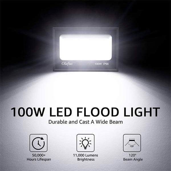 100W Outdoor LED Floodlight, 11,000lm Super Bright Security Flood lights, IP66 Waterproof LED Garden Lights Mains Powered, 5000K Daylight White for Yard, Garage, Playground, Road, Square(EU Standard)