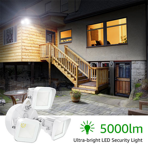 50W LED Security Lights 2 Pack, 5000lm Super Bright Outdoor Flood Light, IP65 Waterproof Floodlight Fixture 5000k Daylight White