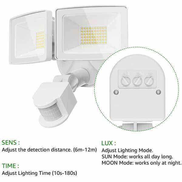 2 x PIR Motion Sensors for Outdoor Security Lights Floodlights WHITE Adjustable