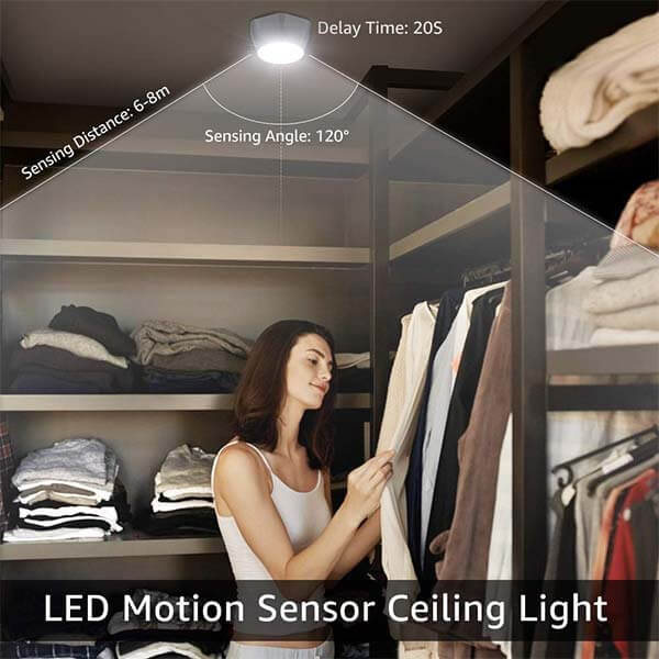 Motion Sensor LED Ceiling Light Fixture Battery Powered, Wireless PIR LED Ceiling Lights 5000K Daylight White