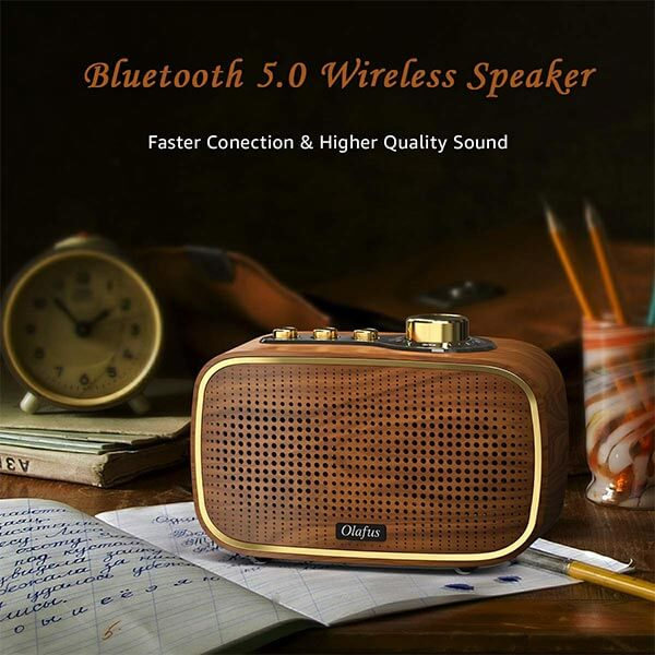 Retro Bluetooth Speaker Portable, 20W Wireless Vintage Speaker Bluetooth 5.0, HD Sound and Rich Bass Wooden Speakers, 20 Hours Playtime