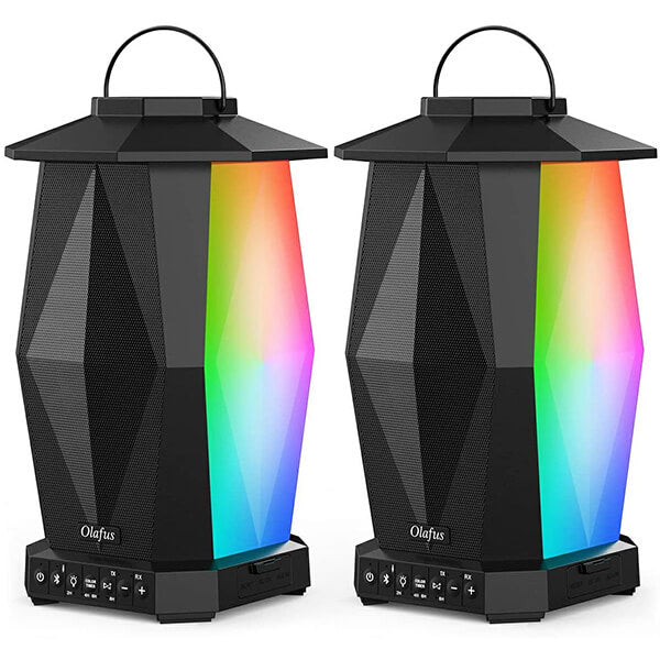 Outdoor Bluetooth Speakers 2 Pack for 5.8Ghz Wireless Pairing, IPX5 Waterproof Indoor Lantern Speakers with LED Mood Lights(US Plug)