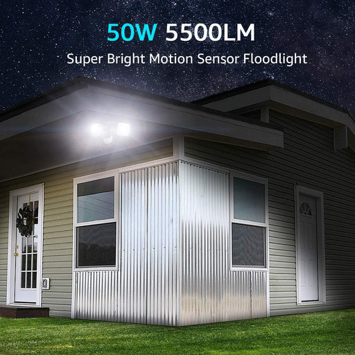 50W LED Security Lights with Motion Sensor, 2 Adjustable Heads, 5000K Cool White, IP65 Waterproof