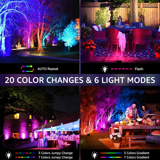 15W RGB Flood Lights 2 Pack, Color Changing Lights with 44 Keys Remote Control, IP66 Waterproof