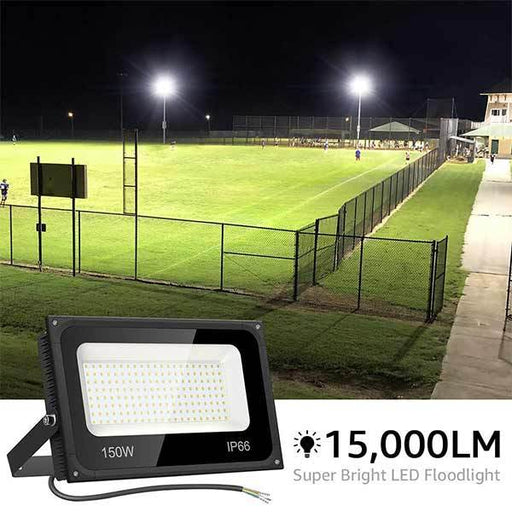 150W Outdoor LED Flood Light 2 Pack, 15,000lm Super Bright Floodlights, 5000K Daylight White(US Standard)