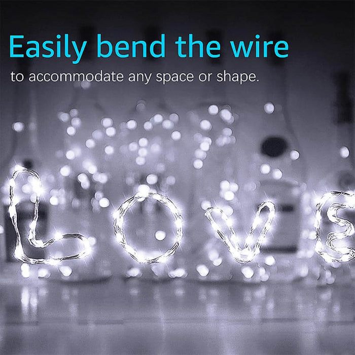 2m LED Copper Wire String Lights 16 Pack Cool White 20 LEDs – Decorative LED Party Lights Battery Operated for DIY, Bedroom, Garden, Front Porch, Backyard