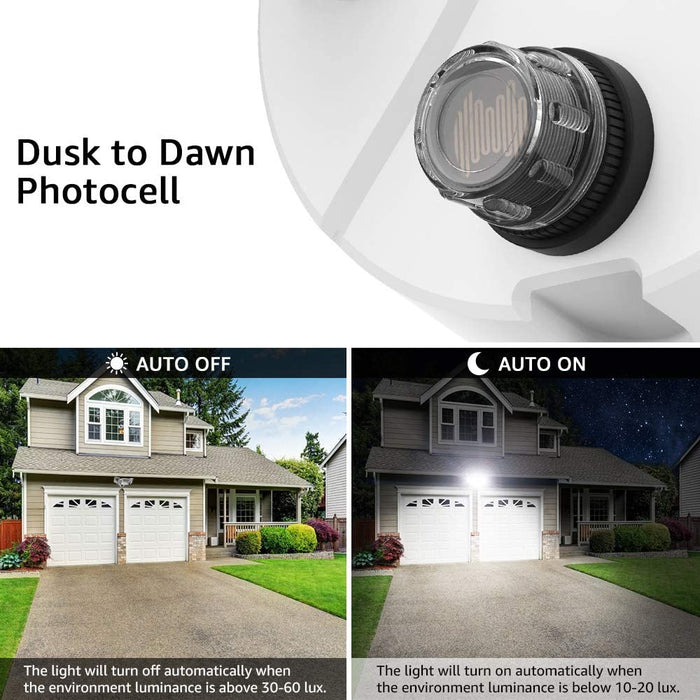 50W LED Security Light Dusk to Dawn Outdoor, 3 Heads 5500LM Photocell Outside Flood Lights, IP65 Waterproof Exterior Lighting, 5000K White LED Light for Yard, Garden, Porch, Backyard(US Plug)