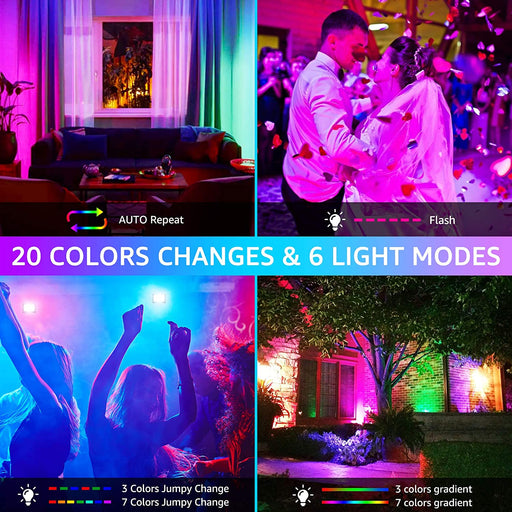 25W RGB Flood Light 2 pack with 44 Key Remote Control, 20 Colors 6 Modes Color Changing , IP66 Waterproof
