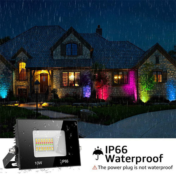 10W Smart LED Flood Lights 2 Pack, WiFi RGBCW Dimmable Floodights Color Changing APP Control Works with Alexa, Music Synch