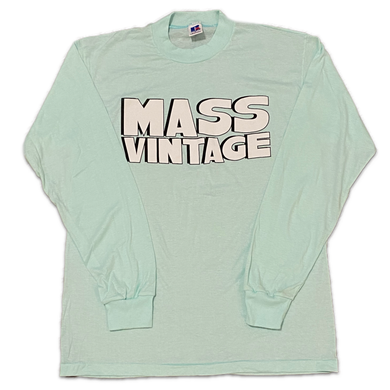 Mass Vintage Block Spell Out Long Sleeve Shirt Blue M