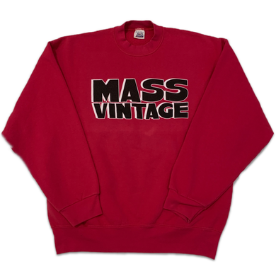 Mass Vintage Block Spell Out Crewneck Red L/XL