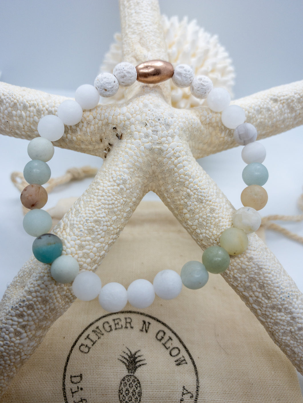 Matte White Jade and Amazonite Bracelet ~Cabo Collection