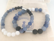 Load image into Gallery viewer, Blue Aventurine & White Jade Bracelet ~Men's Collection