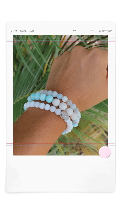 Bimini Collection ~Stacked Bracelet ~ Blue Aquamarine and Matte White Jade