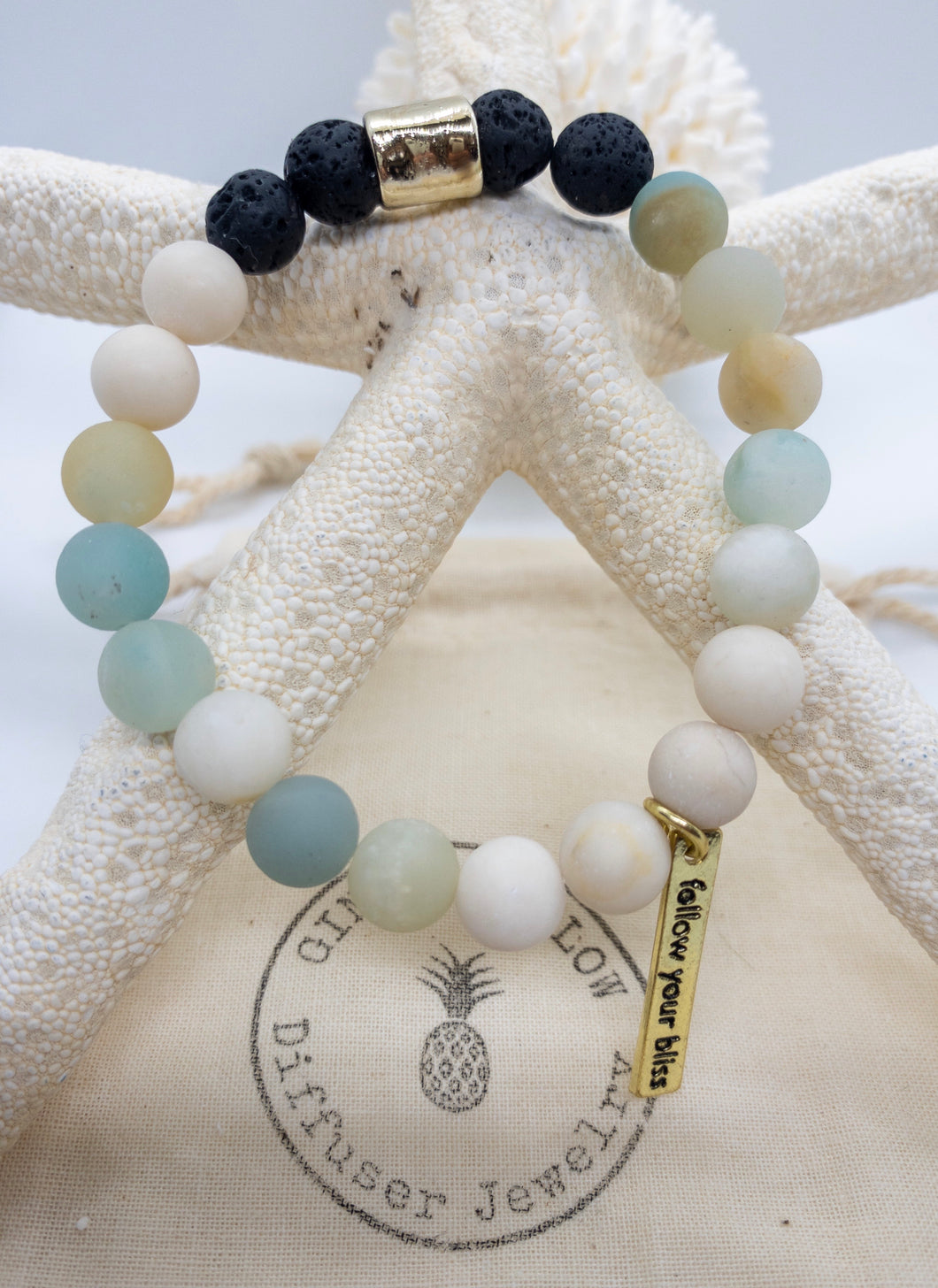 Matte Jade & light Amazonite Bracelet ~Cabo Collection