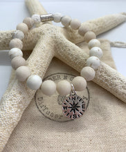 "Load image into Gallery viewer, Matte White Jade ""Silver WanderLust"" Bracelet ~ Mykonos Collection"
