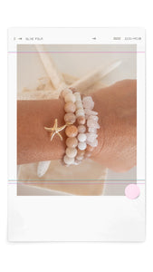California Collection~Pink Moonstone and pink stone chips ~Bracelet Stack Set