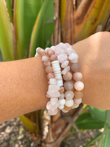 Matte Pink Moonstone  with Pink Stone bracelet ~California Collection