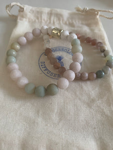 Desert Collection~ 8 mm diffuser bracelet ~matte green aventurine and pink moonstone
