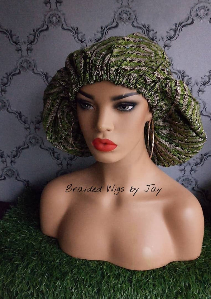 Jay3. African Print Satin Bonnet - Braided Wigs by Jay