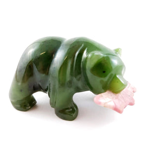 "Jade Bear 2"" with Rhodonite Fish - The Jade Store"