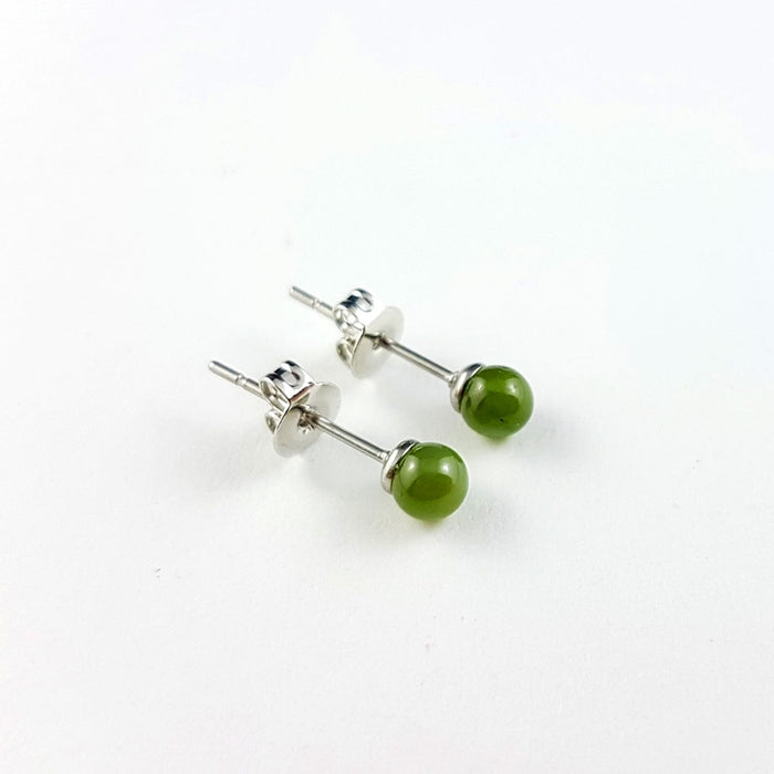 Jade Earrings - 4mm Bead in Stainless