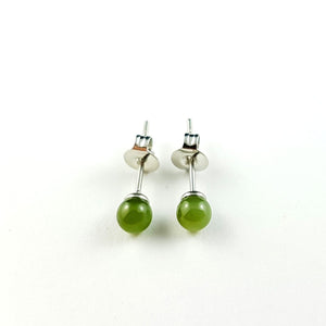Jade Earrings - 4mm Bead in Stainless - The Jade Store
