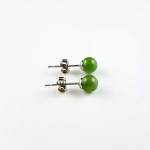 Jade Earrings - 6mm Bead in Stainless - The Jade Store