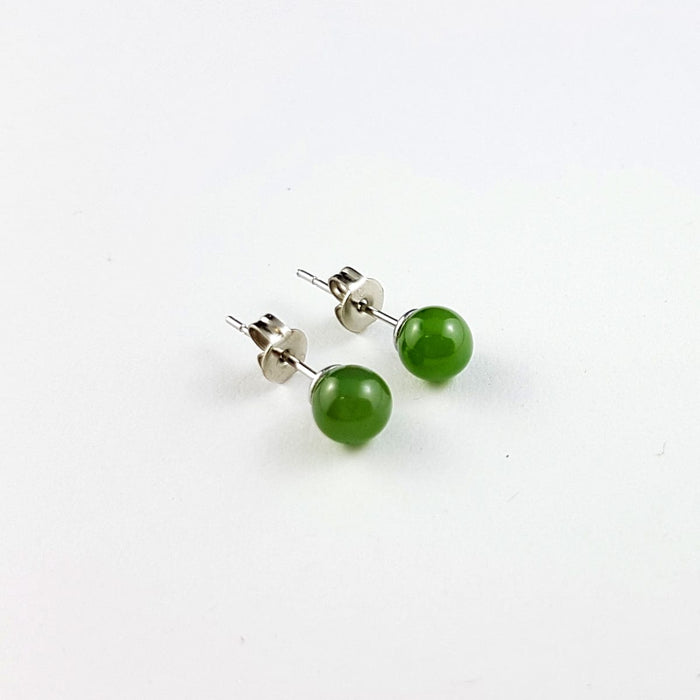Jade Earrings - 6mm Bead in Stainless