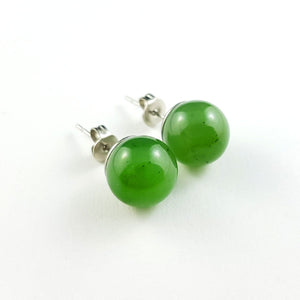 Jade Earrings - 10mm Bead in Stainless - The Jade Store