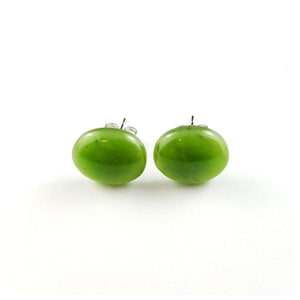 Jade Earrings - Oval Studs - The Jade Store