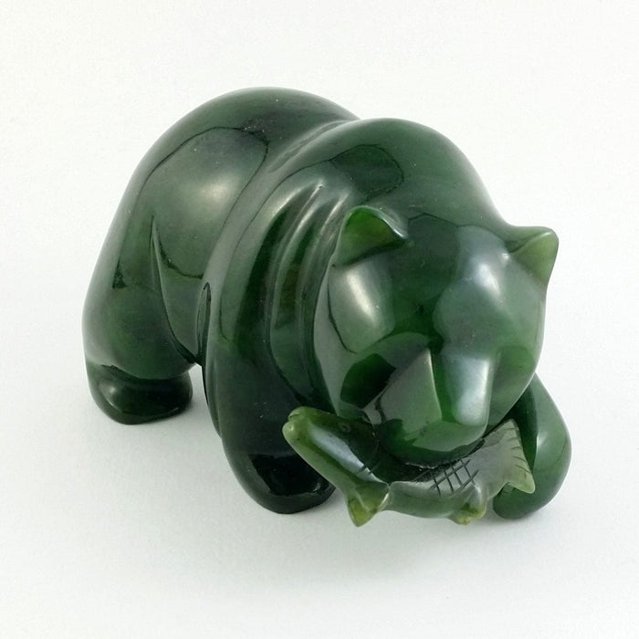 "Jade Bear 4"" with Jade Fish"