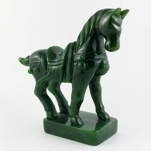 "Jade Horse w/ Saddle 5"" - The Jade Store"